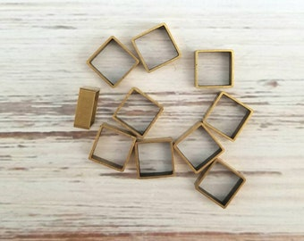 Square brass hoops 10 in package