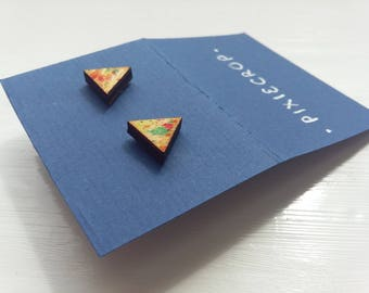 Colourful Triangle Studs, Laser cut Wooden Earrings