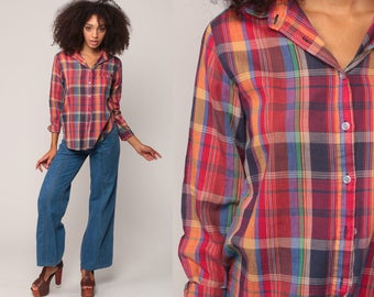 Plaid Shirt 80s Button Up Blouse Checkered Print Long Sleeve Boho 1980s Top Vintage Hipster Red Yellow Blue Cotton Medium