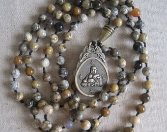 Mala: hand-crafted of 108 moss agate beads with bronze Buddhist amulet
