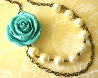 Statement Necklace Turquoise Jewelry Resin Flower Necklace Rose Necklace Pearl Necklace Beaded Necklace
