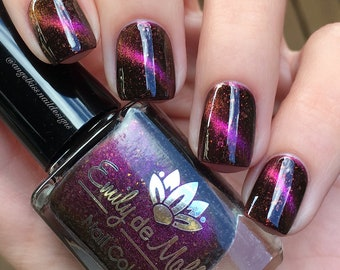 """Nail polish - """"Magnetic Fields"""" pink to orange magnetic  multichrome polish with gold flakes"""