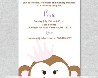 Royal Monkey Princess Party Invitation