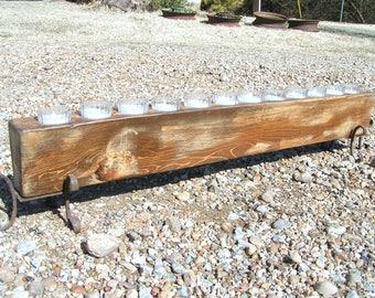 Wooden Sugar Mold CANDLE Holder COMPLETE Set WITH 12 glass votives 0289 et