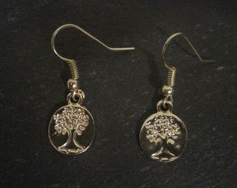 Gold Round Tree Charm Earring