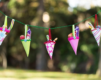 Templates to make Fabric Party cones - Candy cone template and instructions - PDF - Direct download.