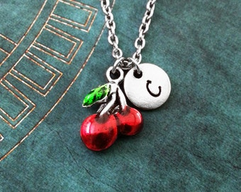 Cherry Necklace SMALL Red Cherries Necklace Pendant Necklace Personalized Necklace Fruit Necklace Fruit Jewelry Gambling Gift Cherry Jewelry