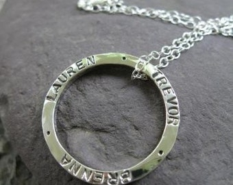 Personalized Sterling Silver Hammered Circle Pendant . both sides inscribed . stamped with your quote, poem scripture or names