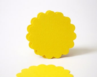 "50 - 1.5"" Bright Yellow Scalloped Circles Punch Tags, Gift Tags, Cupcake Toppers, Scrapbooking, Embellishments - No836"