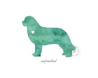 Newfoundland Dog Watercolor Painting Digital Art Print Silhouette Custom Wall Decor, Home, Office, Nursery, Room Decor