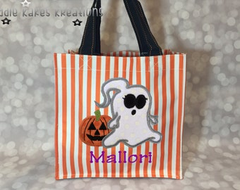 Personalized Halloween Candy Tote Bag with Ponytail Girl Ghost Design / 3 Bag Print Choices