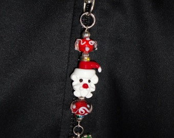 Santa Glass and Lamp-worked glass zipper pull with charm