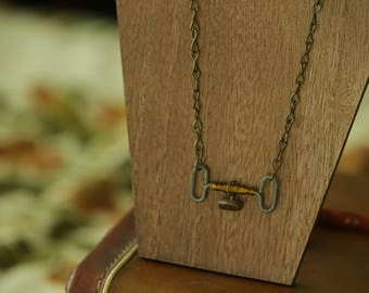 Industrial Upcycled Metal & Stone Pendant Necklace
