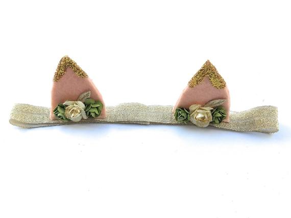 Ears Headband, Infant Ears Headband, Gold Ears Headband, Spring Headband, Girls Headband, Ear Headband