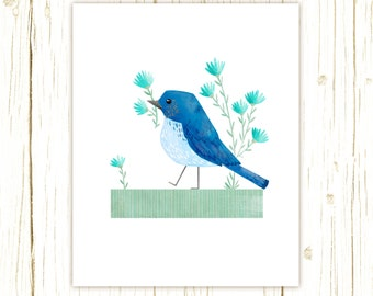 Mountain Bluebird Print -- bird art -- blue bird art 52 birds stephanie fizer coleman illustration