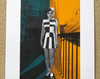 560 : 60's London - Girl in a Geometric Dress - limited edition screenprint