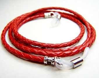 Eyeglass Chain, Custom Length 24-36 inches, Chain for Glasses, Red Braided Leather Cord, Eyeglass Holder
