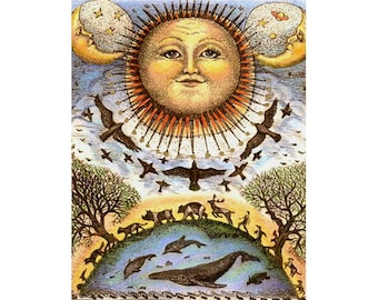 One world giglee reproduction print earth sky sea animals connected