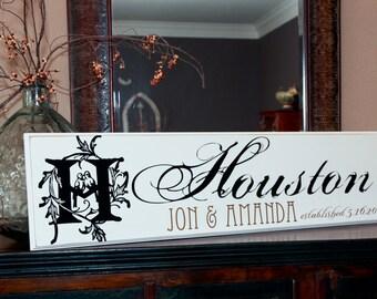 12x40 Personalized Established Family Name Sign  --  Wedding Couple Style