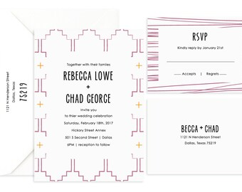 Wedding Invitation, Pattern Invitation, Printed Wedding Invitation, Affordable Wedding Invitation, Invitation and RSVP, Wedding Suite
