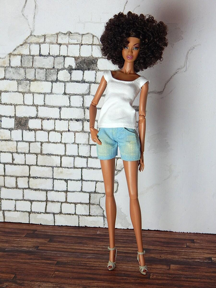 Jeans shorts dirty wash for Fashion Royalty FR2 Poppy
