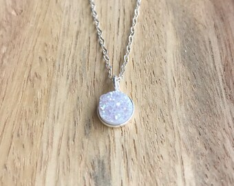 White Druzy Necklace, Rainbow Druzy Necklace, Druzy Necklace, Silver Druzy Necklace, White Druzy, Druzy Jewelry, Delicate Druzy Necklace