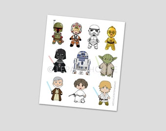 Cute Star Wars Stickers, Chibi Star Wars characters ,illustration stickers, back to school, fanmade