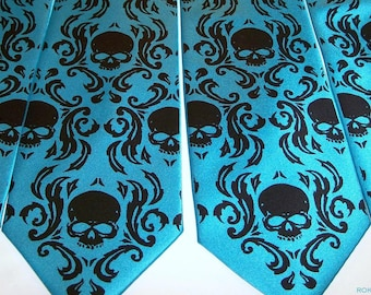 RokGear Neckties Skull Damask - 4 Mens Skull Damask neckties print to order in colors of your choice