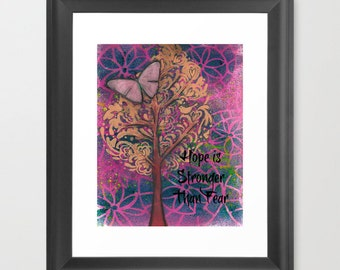 Cancer awareness , Cancer inspirational art, Tree of hope, gift for her, patient gift, motivational quote, Hope is Stronger Than Fear