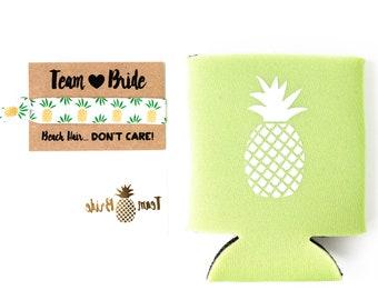 Pineapple Bachelorette Favor Gift Set | Metallic Gold Tattoo, Hair Tie + Drink Cooler | Bachelorette Gift, Bachelorette Party Favor