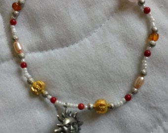 Planetary Solar Charm (Tiphareth) Freshwater Pearl Rose Quartz Red Coral Silver and Gold-plated Beaded Czech Glass Stretch Bracelet