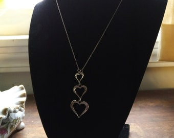 Sterling Silver Heart Necklace, Made From Vintage and New Parts