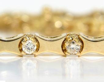 1.50ct. Diamonds Deco Bone Link Bracelet 14KT Full Cut Brilliants