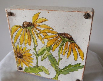 Hand Watercolored Canvas Mounted  Sunflower Home Decor