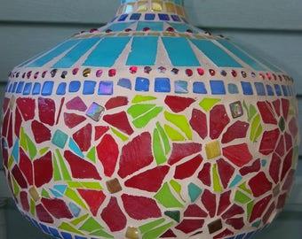 Red Floral Mosaic Vase
