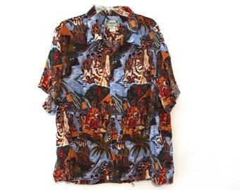 Vintage Hawaiian shirt rayon Kamehameha Hawaii