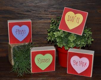 Sweetheart Valentine's Day Decor Wood Stacking Blocks of Love Set Valentines Decoration Block Set Mantle Decor Hugs Kisses Be Mine Love You