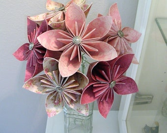Pink Origami Flower Bouquet - Paper Flowers - First Paper Anniversary, 1st Anniversary Gift - Housewarming - Get Well Gift