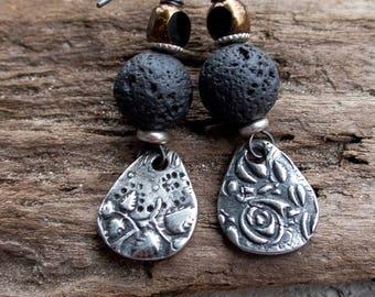 Wabi Sabi Earrings || Mixed Match Earrings | Pewter and Lava Rock | Earthy | Organic | Boho | Hippie | Limited Edition | Earrings Under 25