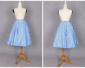 """Lindy Circle Skirt """"Morocco Blues"""" in Blue Gingham"""