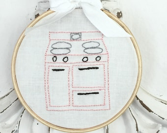 """Vintage Kitchen Toy Stove Embroidery Pattern (6"""" Embroidery Hoop)"""