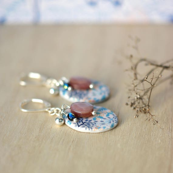 Sterling silver earrings, romantic pink earrings, handmade floral patterns, mother of pearl bead 'Reseda'