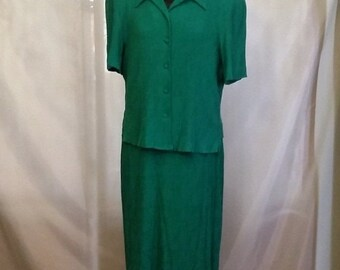 Shop closing 70% off Vintage dress jacket set Karin Stevens turquoise green dress set summer dress set size 18