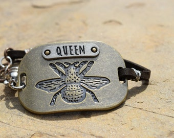 Queen Bee Bracelet with Brown Leather Strap
