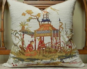 MEILING GARDEN BY Pindler Decorative Throw Pillow Cover Euro Pillow Cover Asian Chinoiserie Pattern Woven Made to Order Custom Made