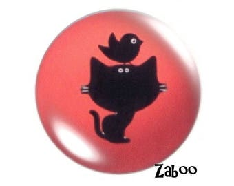 2 cabochons 18mm glass, cat and bird, coral and black