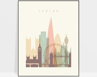 London print, poster, London wall art, London Skyline, London art, Travel poster, London Gift, Home Decor, ArtPrintsVicky