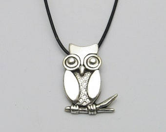 Silver Owl Necklace, Handmade Silver Owl, Black Leather Necklace, Owl Lover Necklace, Bird Lover Necklace, Owl On A Branch, Owl Pendant