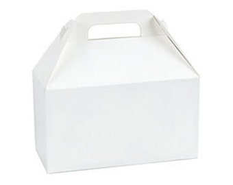 "Set of 5 Large White Gable Boxes, Gable Gift Box, Party Favor Box, 9 1/2"" x 5"" x 5"" Wedding Welcome Box, Wedding Favor Box"