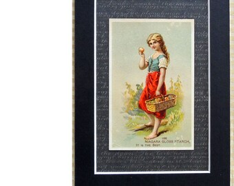 Vintage Advertising Card Niagara Gloss Starch Mated Card Ready For Framing